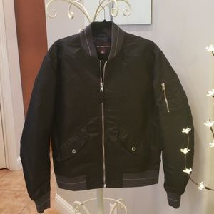Michael Kors Black and Gray Bomber Jacket Large